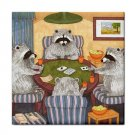 Ceramic Tile Coaster from art painting Raccoon 16 Playing Cards