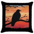 Throw Pillow Case from art painting Bird 46 Crow Raven