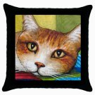 Throw Pillow Case from art painting Cat 251