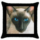 Throw Pillow Case from art painting Cat 377 Siamese