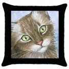 Throw Pillow Case from art painting Cat 391