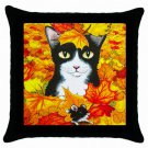 Throw Pillow Case from art painting Cat 447 Fall Autumn