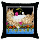 Throw Pillow Case from art painting Cat 451 Flower