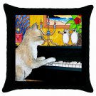 Throw Pillow Case from art painting Cat 506 Mouse Piano