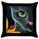 Throw Pillow Case from art painting Cat 510 Ladybug