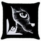 Throw Pillow Case from art painting Cat 510 Ladybug Black and White
