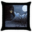 Throw Pillow Case from art painting Cat 534 Black