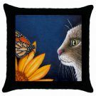 Throw Pillow Case from art painting Cat 541 Butterfly