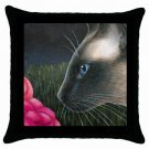 Throw Pillow Case from art painting Cat 546 Siamese Flower