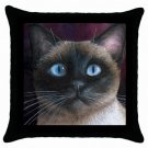 Throw Pillow Case from art painting Cat 548 Siamese