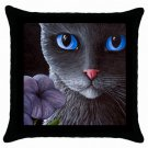 Throw Pillow Case from art painting Cat Black 550 Flower