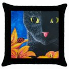 Throw Pillow Case from art painting Cat Black 551 Flower