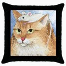 Throw Pillow Case from art painting Cat 552 Mouse