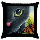 Throw Pillow Case from art painting Black Cat 555 Butterfly