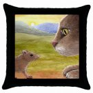 Throw Pillow Case from art painting Cat 560 Mouse