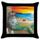 Throw Pillow Case from art painting Cat Mermaid 25