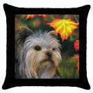 Throw Pillow Case from art painting Dog 78 Yorkshire Terrier Fall Autumn