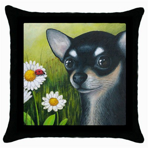 Throw Pillow Case from art painting Dog 79 Chihuahua Flower