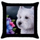 Throw Pillow Case from art painting Dog 82 Westie West Highland Flower