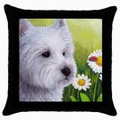 Throw Pillow Case from art painting Dog 83 Westie West Highland Flower Ladybug