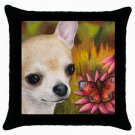 Throw Pillow Case from art painting Dog 85 Chihuahua Flower Butterfly