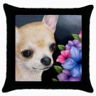 Throw Pillow Case from art painting Dog 86 Chihuahua Flower