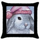 Throw Pillow Case from art painting Hare 14 Rabbit Winter