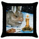 Throw Pillow Case from art painting Hare 20 Rabbit Winter