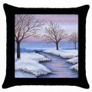 Throw Pillow Case from art painting Landscape 231 River Winter