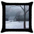 Throw Pillow Case from art painting Landscape 309 Winter Cottage