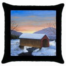 Throw Pillow Case from art painting Landscape 310 Covered Bridge Winter