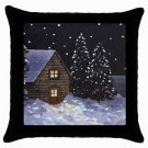 Throw Pillow Case from art painting Landscape 368 Cottage Winter