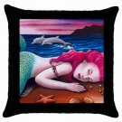 Throw Pillow Case from art painting Mermaid 12 Dolphin