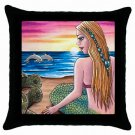 Throw Pillow Case from art painting Mermaid 41 Dolphin Turtle