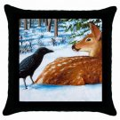 Throw Pillow Case from art painting Crow deer
