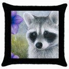Throw Pillow Case from art painting Raccoon 20 Flower