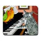 Mousepad Mat pad from art painting Cat 457 Birds Piano