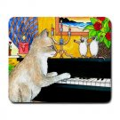 Mousepad Mat pad from art painting Cat 506 Mouse Piano Funny