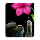 Mousepad Mat pad from art painting Cat 513 Black Cat Flower