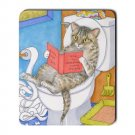 Mousepad Mat pad from art painting Cat 535 Cat on Toilet Bowl Funny