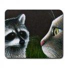 Mousepad Mat pad from art painting Cat 540 Raccoon