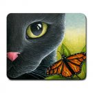Mousepad Mat pad from art painting Cat 555 Black Cat Butterfly