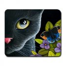 Mousepad Mat pad from art painting Cat 557 Black Cat Butterfly Flower