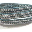 Silver Double Beaded Wrap Bracelet