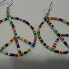 Seed Bead Peace Earrings