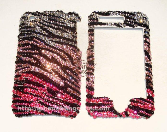 Swarovski rhinestones iPhone bling case Zebra print faceplate
