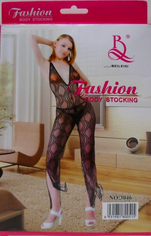W3046 SEXY WOMEN FISHNET LACE BODY STOCKING DANCEWEAR Black