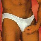 H343 Hot Men Bikini Soft Smooth w/ Zipper White