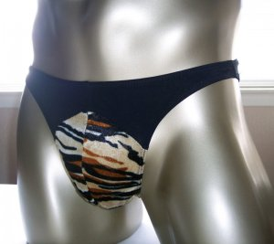 H1528 MENs BIKINI Tiger Front Soft shiny black Back