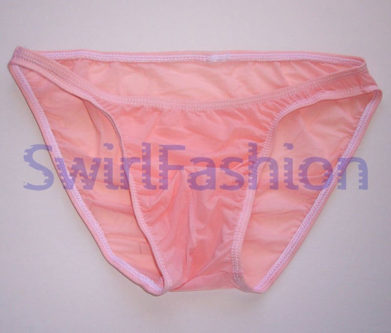 R1711 MEN BIKINI SKIMPY POUCH Silky Tricot Coral Pink 12-pairs